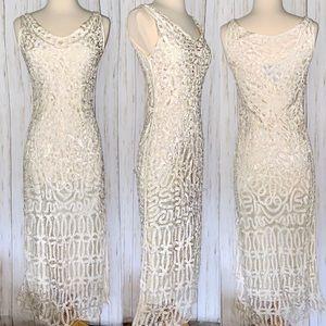 Gorgeous CAROL LITTLE Fitted Lace Ecru Dress